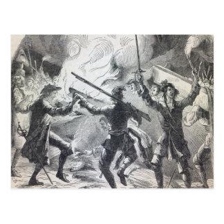 Sacheverell Aufständischer zerstören Teil einer Postkarten