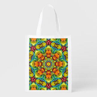 Sacs réutilisables colorés de rayon de soleil sacs d'épicerie