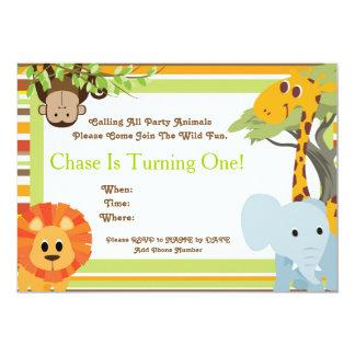 Safari-Baby-Duschen-oder Geburtstags-Party 12,7 X 17,8 Cm Einladungskarte