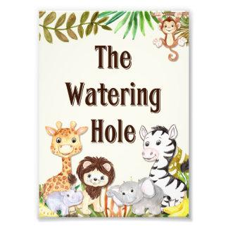 Safari-Bewässerungs-Loch-Zeichen, Fotodruck