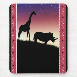 Safari-Silhouette - afrikanische Kunst - Mousepad