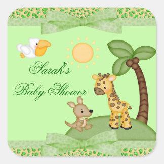 Safari-Tier-Gepard-Druck-Babyparty Quadratischer Aufkleber