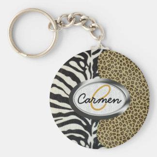 Safarileopard-und Zebra-Druck-Monogramm Standard Runder Schlüsselanhänger