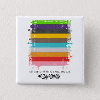 Safe mit mir Flaggen-quadratischer Knopf Quadratischer Button 5,1 Cm