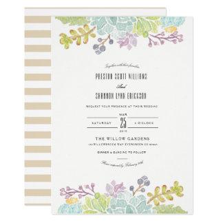 Saftige Aquarell-Hochzeit des Frühlings-Garten-| 12,7 X 17,8 Cm Einladungskarte
