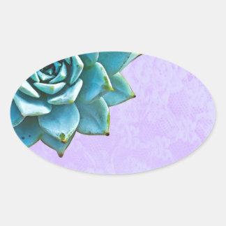 Saftige Aquarell-Lavendel-Spitze Ovaler Aufkleber