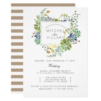 Saftige BlumenAquarell-Hochzeit des Garten-  12,7 X 17,8 Cm Einladungskarte