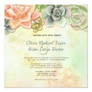 Saftiges Aquarell-Blumenhochzeits-Einladung Quadratische 13,3 Cm Einladungskarte