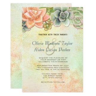 Saftiges Aquarell-Blumenhochzeits-Pfirsich 12,7 X 17,8 Cm Einladungskarte