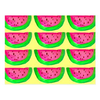 Saftiges rosa Wassermelonefruchtmuster auf Zitrone Postkarte