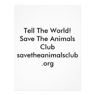 Sagen Sie der Welt! Retten Sie den Tieren Clubsave Flyer Druck