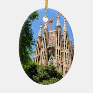 Sagrada Familia in Barcelona, Spanien Ovales Keramik Ornament
