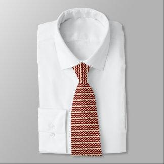 Sahne- und kastanienbraunes Zickzackmuster ganz Individuelle Krawatte