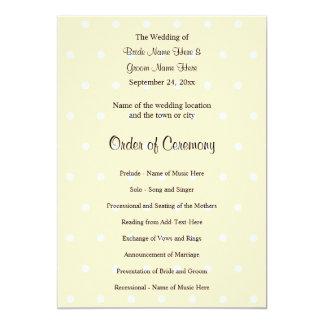 SahnefarbTupfen-Hochzeits-Programm 12,7 X 17,8 Cm Einladungskarte