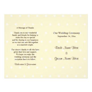 SahnefarbTupfen-Hochzeits-Programm 21,6 X 27,9 Cm Flyer