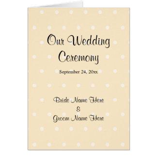SahnefarbTupfen-Hochzeits-Programm Grußkarte