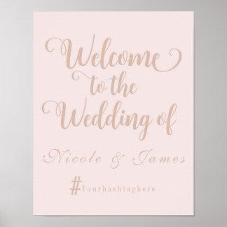 Sahniges beige Hochzeits-Willkommen Hashtag Poster