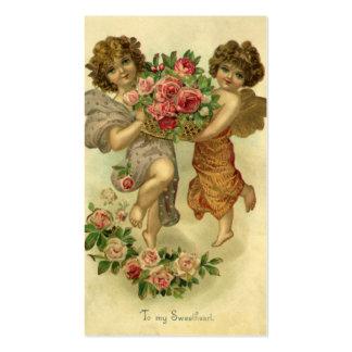 Saint-Valentin victorienne vintage, roses d'anges Carte De Visite Standard