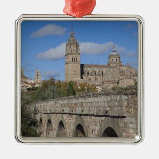 Salamanca-Kathedralen, angesehen von Puente Romano Silbernes Ornament