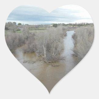 Saline-Fluss, wie von Templeton Brücke gesehen Herz-Aufkleber
