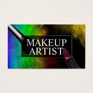 Salon de beauté coloré de poudre d'arc-en-ciel de cartes de visite