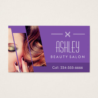 Salon de coiffure pourpre chic de maquillage de cartes de visite