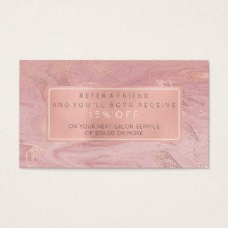 Salon-Empfehlungs-Karten-Rosa-GoldRose weißes Visitenkarten