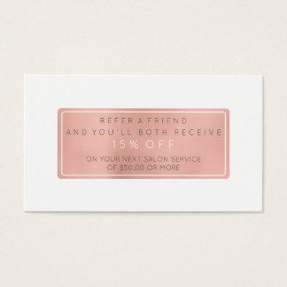 Salon-Empfehlungs-Karten-Rosa-GoldRosen-weißes Visitenkarten