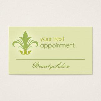 Salonverabredung, Schönheit, grüne Geschäftskarte Visitenkarte
