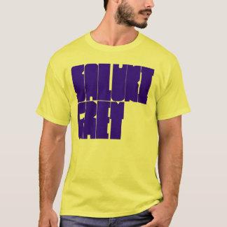 Saluki graue blaue Blockschrift T-Shirt