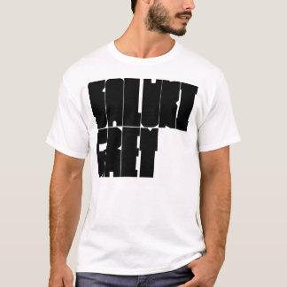 Saluki graue schwarze Blockschrift T-Shirt