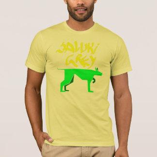 Saluki graues Logo und graffitti Schriftart Gelb T-Shirt