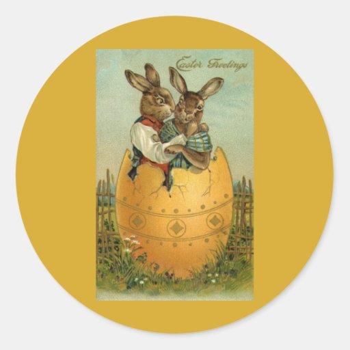 Salutations vintages de Pâques, lapins dans un Adhésifs Ronds