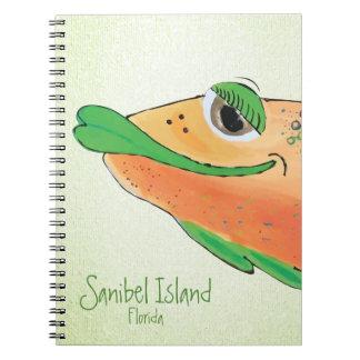 Salzige entzückende Fisch-Kunst Sams - Sanibel Spiral Notizblock