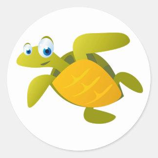 Sam die Meeresschildkröte Runder Aufkleber