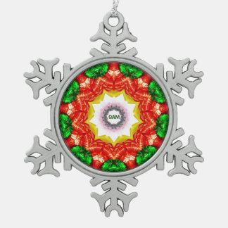 SAM ~ personalisiertes Schneeflocken Zinn-Ornament