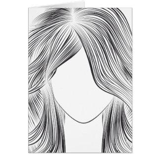 Samantha - B/W Linie Kunst Karte