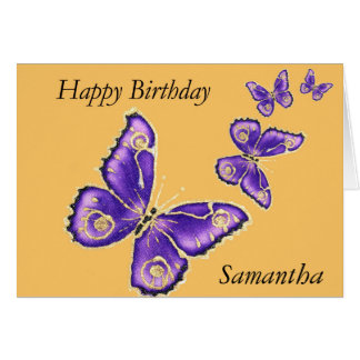 Samantha, lila Schmetterlingskarte alles Gute zum Karte