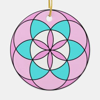 Samen des Leben-Rosas Keramik Ornament