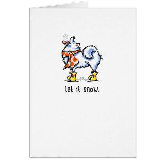 Samoyed Eskie Schal ließ es schneien Grußkarte