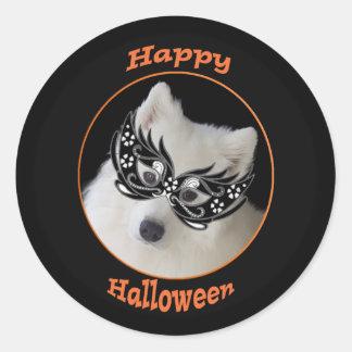 Samoyed-Halloween-Aufkleber, 2 Größen, glatt/Lech Runder Aufkleber