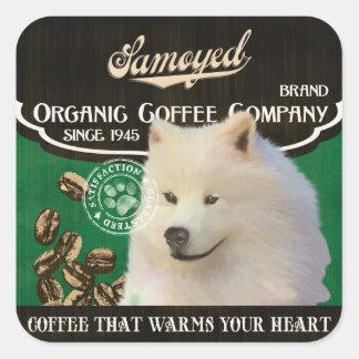 Samoyed-Marke - Organic Coffee Company Quadratischer Aufkleber