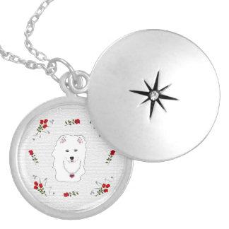 Samoyed-Welpen-Prinzessinnecklace Locket. Runde Medaillon Halskette