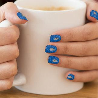 Samoyed-Winter-blaue Nagel-Kunst --tragbarer Art. Minx Nagelkunst