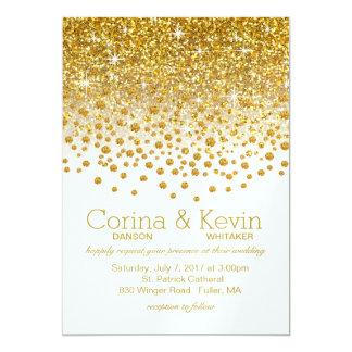 SAMPLEGlitter Confetti Shower Wedding   gold white Karte