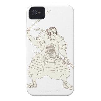 Samurai-Krieger Katana Kampf-Position Woodblock iPhone 4 Etuis