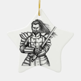 Samurai-Kriegers-Kampf-Positions-Tätowierung Keramik Ornament