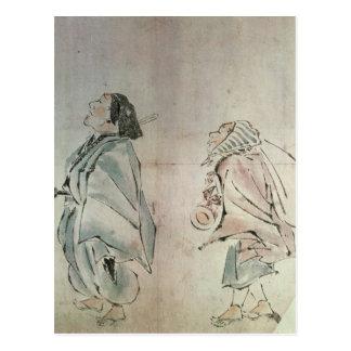 Samurais, die von einem Bediensteten gefolgt Postkarte