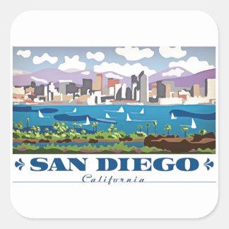 San Diego Skyline Quadratischer Aufkleber