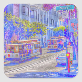 San Francisco Neon Quadratischer Aufkleber